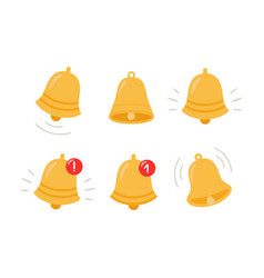 notification bell icon the golden alert bell vector image