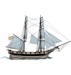 old sail ship vector image