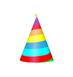 party hat cone with white curled strips and star vector image