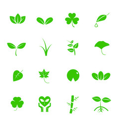 Plant and leaf icon set nature and geology vector