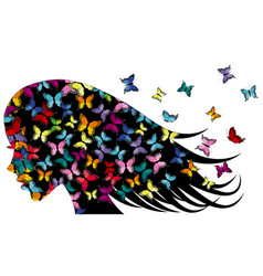 profile a girl with colored butterflies vector image