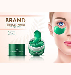 Realistic eye patches in cosmetics jar vector