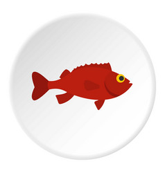 Red betta fish icon circle vector