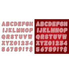 Red Candy Cane Alphabet Set vector