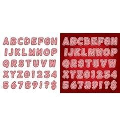 Red candy cane alphabet set vector