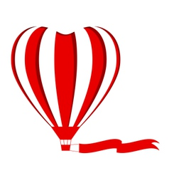 Red hot air balloon in the shape of a heart cutout vector image