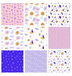 retro memphis seamless patterns 80-90s style vector image