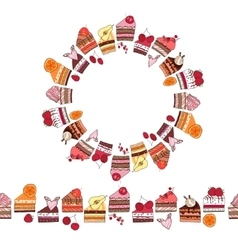 Round frame and endless pattern brush made of cake vector image