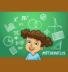 School girl write math sign object in school vector