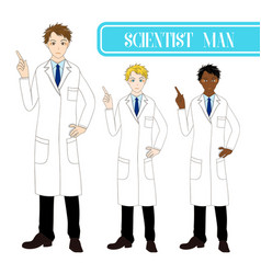 scientist man pointing up with serious face vector image