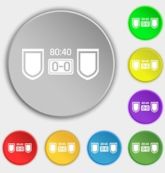 Scoreboard icon sign Symbol on eight flat buttons vector