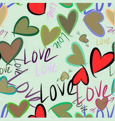 Seamless hand drawn love for valentine day vector