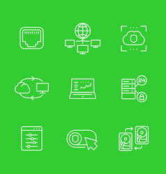 Servers networks icons set linear style vector