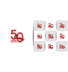 Set anniversary logo style with multiple line red vector