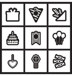 Set of black and white icons celebration vector