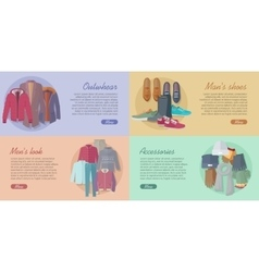Set of Outwear Shoes Accessories Look Banners vector