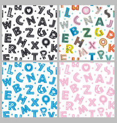 Set of seamless pattern with letters vector