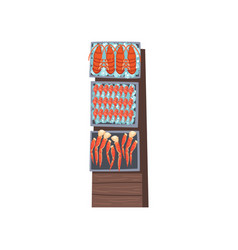 Shelves with fresh fish with ice cubes seafood vector