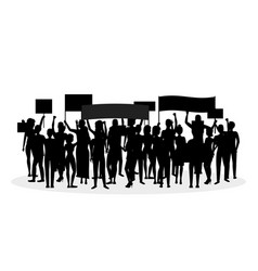 silhouette black protesting crowd vector image