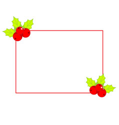 simple christmas frame decorated with holly ilex vector image
