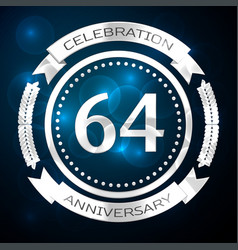 Sixty four years anniversary celebration with vector