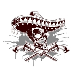 Skull with sombrero and two revolvers vector