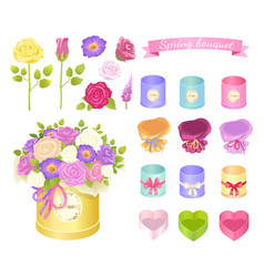 spring bouquet collection vector image