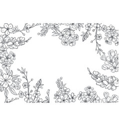 Spring branches with flowers background vector