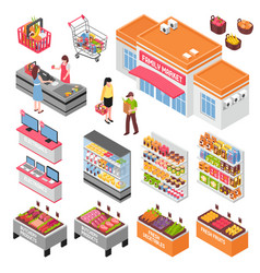 Supermarket isometric set vector