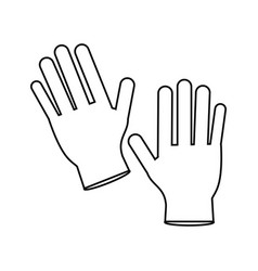 Surgery glove clean medical thin line vector