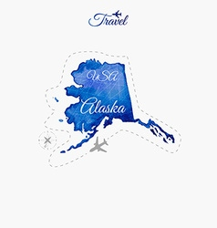 Travel around the world Alaska Watercolor map vector image