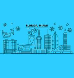 united states miami winter holidays skyline vector image