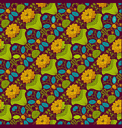 various colors flower seamless pattern background vector image