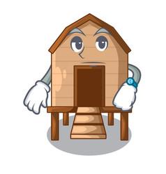 Waiting chicken in a wooden cartoon coop vector