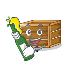 With beer crate mascot cartoon style vector