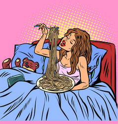 woman eating spaghetti dinner in bed vector image