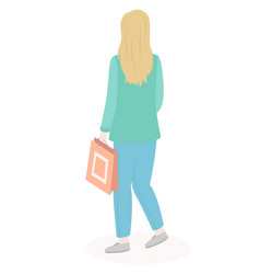 Woman holding paper bag goes shopping from the vector