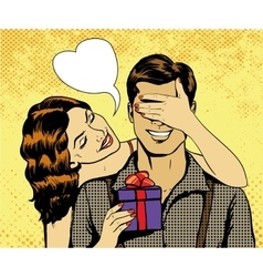Woman presents gift to man in vector image