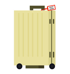 yellow suitcase on wheels with tag image vector image