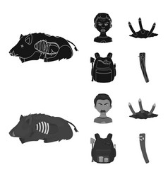 Zombies and attributes blackmonochrom icons in vector