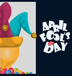 april fools day hat joker balloons celebration vector image