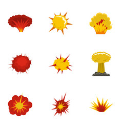 explosion destruction icons set flat style vector image