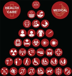 Medical and health care red Icon collection vector image