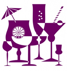 coctail glasses silhouette vector image vector image