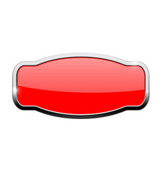 Decorative red button web icon with chrome frame vector