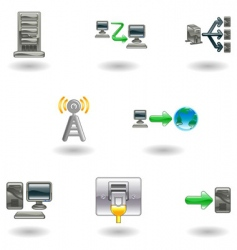 glossy computer network icon set vector image vector image