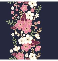 Night garden sakura blossoms vertical seamless vector image vector image