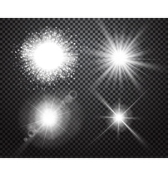 Set of glowing lights effects with transparency vector image vector image