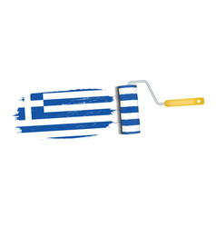 brush stroke with greece national flag isolated on vector image vector image