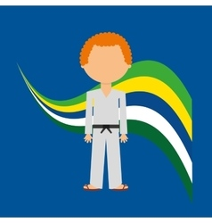 cartoon taekwondo player brazilian label vector image